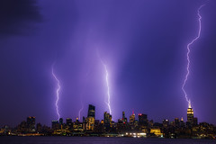Lightning Strikes NYC ([ raymond ]) Tags: manhattan nyc img5393 weather storm lightning awesome skyline empirestatebuilding summer bolts wow