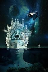 A Passage in Time (Vincent Mattina (aka FLUX)) Tags: woman underwater night sea ocean calm building sleep slumber moon luna
