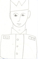 young man with uniform and crown (JENS01) Tags: zeichnung kohle papier bleistift drawing sketching painting malerei skizze sketchbook art kunst graphite pencildrawing paperwork urban doodle l oil tusche portrait