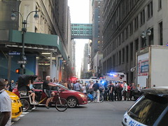 Rush Hour Crowd Walking Past Crime Scene 7th Ave 2016 NYC 5429 (Brechtbug) Tags: akram joudeh attacked an offduty nypd officer with 11inch cleaver from his waistband near penn station height evening rush hour thursday wounding cop face before being shot 18 times by police nyc 2016 midtown manhattan 7th ave 32nd street crowds checking out scene 9152016 new york city crime