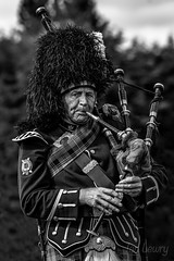 A piper at the Lonach gathering in Scotland (Ian Lewry Photographer) Tags: bagpipes piper scotland lonach game ianlewry lewry bw blackwhite black