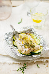 the baked cod with zuccini (Zoryanchik) Tags: cod fish baked seafood vegetables white healthy grilled food dinner cooked fresh green red nutrition gourmet garnish herbs diet zuccini