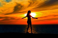 My oldest daughter watching the sunset - Tel-Aviv beach (Lior. L) Tags: myoldestdaughterwatchingthesunsettelavivbeach myoldestdaughter watching sunset telaviv beach silhouette clouds sea seascapes israel telavivbeach travel life nature love