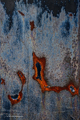 Blue & Rust I (Jae at Wits End) Tags: lines pattern color decay shapes line rust blue patina rustic oxidation corrosion oxidized weathered abstract rusty wear corroded shape metal bleached discolored faded faint old pale texture worn