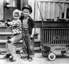 ME AND ROSIE THE RIVETER (NC Cigany) Tags: bw girl kids dave wagon funny rosietheriveter humor nj scooter 1940s scanned clifton babushka 57 topaz kerchief westernflyer denimjeans
