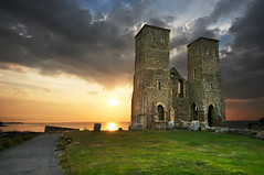 England: Reculver Roman Fort (ovofrito) Tags: uk sunset sea england sky church nature bicycle coast kent nikon roman ruin gb reculver d300s