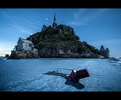 La Lune du Mont St Michel (wilsonaxpe) Tags: longexposure moon france nightscape moonlight normandie bluehour normandy buoy bluemoon lemontstmichel moonlightshadow wilsonaxpe bloodyscaffolding