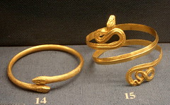 Gold snake bracelets. (diffendale) Tags: museum museo benakimuseum  athens atene greece grecia greek greco antico ancient artifact display archaeological archeological art arte collection gold oro bracelets snake hellenistic roman alexandria egypt egitto alessandria 1stcbce 1stcce