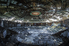 The Buzludzha () Dome (KamrenB Photography) Tags: red mountain mountains color building abandoned hammer architecture photography high amazing cool colorful europe wind top peak communist communism bulgaria socialist sickle distance range destroyed brutalist balkan disrepair deterioration buzludzha buzludja elevetion  kamgtr