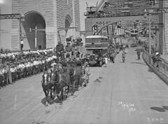 Stage coach & double-decker bus in procession, Sydney Harbour Bridge Celebrations, 1932 / photographer Hall & Co.
