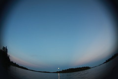 blue moon (Maicdlphin) Tags: blue sunset sky moon lake clam fisheye spec lakeofthewoods bluemoon lotw