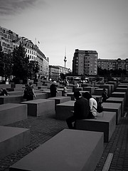 Jewish memorial (danae....) Tags: blackandwhite berlin art architecture germany memorial couple view creative holocaustmemorial tvtower postdamerplatz einsenman