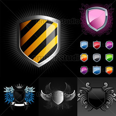 Shields Pack (Ember Studio) Tags: black illustration warning emblem design colorful coatofarms graphic symbol wing royal security icon crest glossy weapon shield insignia vector striped element heraldic