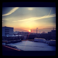 Winter sunset (Nekr0n) Tags: winter sunset sky square industrial cityscape moscow roofs squareformat iphone iphoneography instagramapp iphone4s