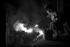 cake, kisses, and best wishes (StephenCairns) Tags: blackandwhite bw japan canon fireworks daughter birthdayparty nina nocrop gifu motosu 7yearsoldtoday stephencairns canon5dmarkii