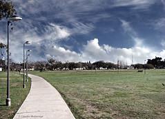 To have a dream / Tener un sueño (Claudio.Ar) Tags: park city blue sky santafe green lamp argentina clouds bench topf50 path sony ciudad dsc h9 claudioar claudiomufarrege