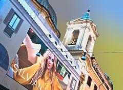 Maria della Secolarizzazione (glukorizon) Tags: woman rome church facade advertising reclame churchtower kerk vrouw sanctuary faade itali layering gevel hss lagen kerktoren colourchange santamariainmontesanto heiligdom kleurverandering sliderssunday