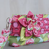 Aqua and Pink Wristlet with Fabric Flower (pbtajr) Tags: green floral aqua handmade sewing purse pouch wristlet pinkpolkadot zipperbag fabricflower