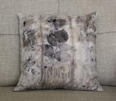(red2white) Tags: brown leaves print botanical grey natural handmade raspberry covers cushion printed euca
