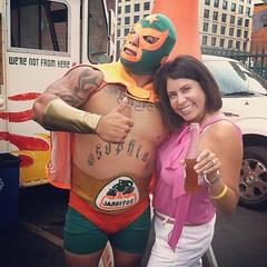 Mrs. K with the Jarritos luchador #riotla #jarritosla