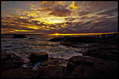 Sunset at Godrevy Point (andrewjmann100) Tags: ocean sunset sea lighthouse clouds landscape rocks cornwall waves wideangle godrevy