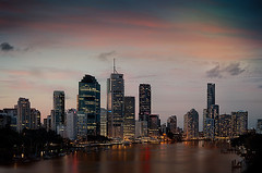 Brisbane City Lights {explored} (lovephotos10) Tags: leica sunset river 50mm brisbane canon5d cbd brisbanecity
