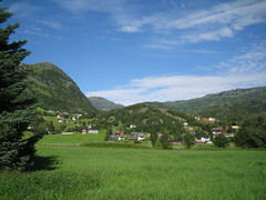 Verdure of Norway in summer (VERUSHKA4) Tags: park wood blue summer sky cloud house mountain tree green nature grass norway forest canon relax landscape town europe day village view natural august calm norwegian ciel national fir scandinavia vue scandinavian northen verdure northcountry nouage