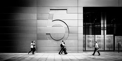 Just The Five Of Us (Sean Batten) Tags: london england unitedkingdom gb nikon d800 50mm blackandwhite bw five streetphotography street 5broadgate ubs people number city urban broadgatecircus