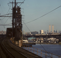 WTC 193 (stevensiegel260) Tags: worldtradecenter twintowers 1980s newjersey path hackensackriverbridge track train railroad railroadbridge bridge newyorkskyline manhattanskyline