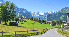 The town of Wengen, Jungfrau region (mandar_haridas) Tags: switzerland europe swiss jungfrau region jungfrauregion jungfraujoch top topofeurope wengen murren lauterbrunnen summer july beautiful green landscape interlaken kleine scheidegg train town village gondoloa