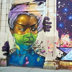 lady of logan (hansecoloursmay) Tags: graffiti streetart logansquare chicago milwaukeeavenue discountmegamall maxsansing