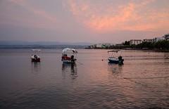 Three little fishingboats - Lefkadi, Chalkis (kutruvis nick) Tags: greece greek hellas evia chalkis lefkadi sea water boats fishingboats sky clouds sunset buildings trees nik kutruvis nikon d5100