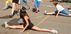 spread 2 (Oneras) Tags: teen legs spread shorts cheerleader pretty girl calves calf jailbait
