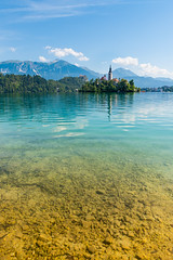 Bled, Slovenia (mieshahmo) Tags: bled slovenia water mountains clearskies