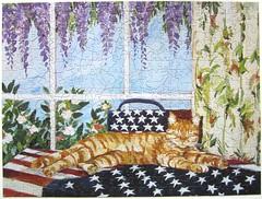 Patriotic Patty (Carol Lee Walker) (Leonisha) Tags: puzzle jigsawpuzzle cat chat katze kitten ktzchen flag flagge