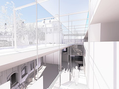 New extension circulation placed in light void  between extension and atrium roof garden