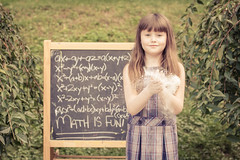 Math is fun! (Kilkennycat) Tags: school portrait girl canon children chalk child 50mm14 math learning dust plaid flour chalkboard 500d kilkennycat t1i ryanconners