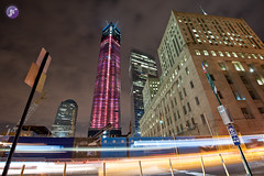 Freedom Tower, New York City (Blue_gsx) Tags: freedomtower newyorkcitynightlongexposurenikond7001635mmlighttrailsbrooklyn