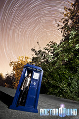 Doctor Who ([Nocturne]) Tags: trees light lightpainting night stars paint space doctorwho drwho tardis nocturne startrails bluebox thedoctor timelord timeandspace thebluebox biggerontheinside noctography wwwnoctographycouk