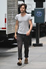 Penn Badgley on the set of 'Gossip Girl' in Midtown, Manhattan. New York City, USA