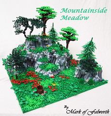 Mountainside Meadow (Main) (Mark of Falworth) Tags: flowers trees mountain plant tree castle forest landscape woods rocks lego meadow medieval forester moc