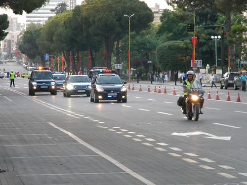 Sali Berisha arriving at Presidenca, Bulevardi Dëshmorët e Kombit, Tiranë