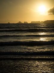 Breaking the waves (Tintin44 - Sylvain Masson) Tags: ocean sunset seascape vacances wave bretagne vague plage contrejour couchant ombrechinoise atlantique crozon finistere tasdepois goulien prequledecrozon aout2012
