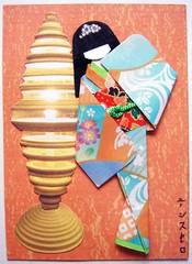 ATC1075 - By the lamplight (tengds) Tags: blue orange lamp atc geisha kimono obi origamipaper papercraft japanesepaper washi ningyo handmadecard chiyogami magazinecutout yuzenwashi japanesepaperdoll origamidoll nailartsticker tengds