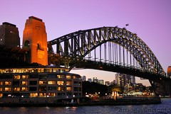 Sydney Harbour Bridge (Simone Damonte) Tags: bridge sunset reflection water night lights nikon sydney australia lanscape sydneyharbourbridge d60