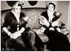 Princesses Fawzia & Faiza at The Royal Opera House   Cairo In 1950 (Tulipe Noire) Tags: africa house opera princess egypt middleeast royal cairo 1950s egyptian 1950 faiza fawzia