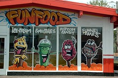 FUNFOODS to eat! (kennethkonica) Tags: windows red orange usa green midwest indianapolis indiana icecream funfood smoothies advertisements hoosiers conveniencestores