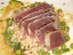 Seared Ahi with white beans and peas