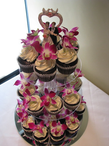 Purple Orchid cupcake tower