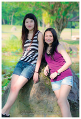 Ying&Yean (Alphone Tea) Tags: life blue light portrait favorite sun white black green art girl beautiful smile grass composition contrast pose garden print photography japanese daylight amazing model eyes singapore colorful asia pretty purple bright sweet bokeh modeling outdoor sister great models chinese young longhair lovely staring naturalight 2012 100l 60d
